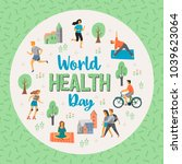 world health day. healthy... | Shutterstock .eps vector #1039623064