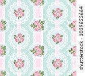 shabby chic rose seamless...   Shutterstock .eps vector #1039623664