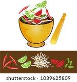 somtum papaya salad thailand   Shutterstock .eps vector #1039625809