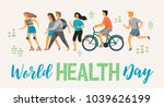 world health day. healthy... | Shutterstock .eps vector #1039626199