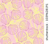 seamless pattern of seashells.... | Shutterstock . vector #1039628191