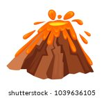 volcano eruption with hot lava... | Shutterstock .eps vector #1039636105