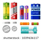 battery pack. primary cells or... | Shutterstock .eps vector #1039636117