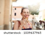 smiling attractive stylish... | Shutterstock . vector #1039637965