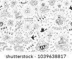 old school tattoos seamles... | Shutterstock .eps vector #1039638817