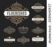 vintage flourishes frame banner ... | Shutterstock .eps vector #1039640917