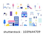 city elements   flat design... | Shutterstock .eps vector #1039644709