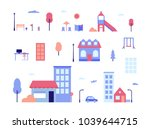 city life   flat design style... | Shutterstock .eps vector #1039644715