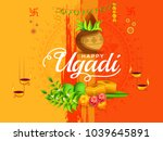 illustration of happy ugadi... | Shutterstock .eps vector #1039645891