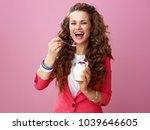 pink mood. portrait of smiling... | Shutterstock . vector #1039646605