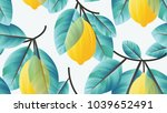 seamless pattern  lemon fruit... | Shutterstock .eps vector #1039652491