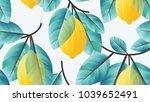 seamless pattern  lemon fruit... | Shutterstock .eps vector #1039652491