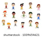 set of children cartoon... | Shutterstock .eps vector #1039654621