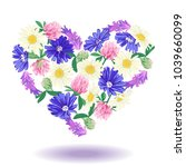 cute floral heart isolated on... | Shutterstock . vector #1039660099