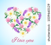 romantic card with floral heart.... | Shutterstock . vector #1039660129