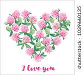 romantic card with floral heart.... | Shutterstock . vector #1039660135