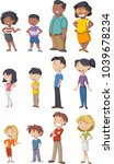 colorful happy people. cartoon... | Shutterstock .eps vector #1039678234