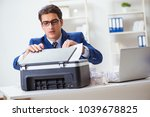 businessman angry at copying... | Shutterstock . vector #1039678825