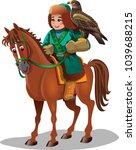 a boy on horseback  a hunter... | Shutterstock .eps vector #1039688215