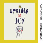 spring poster with girl.   Shutterstock .eps vector #1039692397