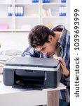 hardware repairman repairing... | Shutterstock . vector #1039693999