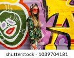 trendy charming girl in... | Shutterstock . vector #1039704181