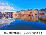 the harbor of honfleur ... | Shutterstock . vector #1039704565