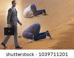businessman hiding his head in... | Shutterstock . vector #1039711201