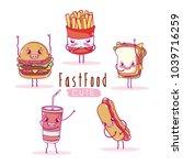 cute breakfast ingredients...   Shutterstock .eps vector #1039716259
