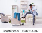 businessman late for office due ... | Shutterstock . vector #1039716307