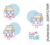 cute milk box kawaii cartoon | Shutterstock .eps vector #1039717009
