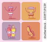 cute fast food collection | Shutterstock .eps vector #1039719139