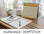 notebook with pen diary clock... | Shutterstock . vector #1039727134