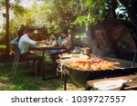 afternoon party  barbecue and... | Shutterstock . vector #1039727557