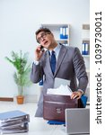 employee with too much work... | Shutterstock . vector #1039730011