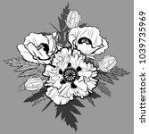 bouquet of poppy flowers hand... | Shutterstock .eps vector #1039735969