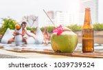 beverage and coconut juice... | Shutterstock . vector #1039739524