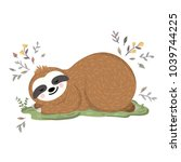 cute baby sloth sleeping on the ... | Shutterstock .eps vector #1039744225