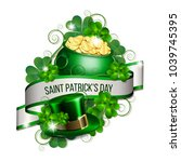 patrick day card with ribbon ... | Shutterstock .eps vector #1039745395