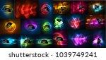 mega collection of neon... | Shutterstock .eps vector #1039749241