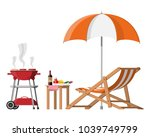 bbq party. sun lounger  table... | Shutterstock .eps vector #1039749799
