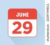 june 29 calendar icon red flat... | Shutterstock .eps vector #1039749811