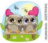 valentine card with cute... | Shutterstock .eps vector #1039754341