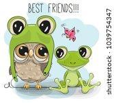 Cute Cartoon Owl In A Frog Hat...