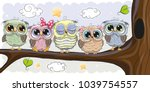 Stock vector five cute owls is sitting on a brunch 1039754557