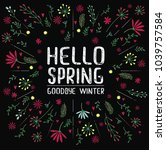 vector inscription hello spring ... | Shutterstock .eps vector #1039757584