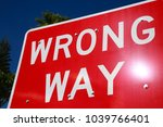 red and white wrong way sign... | Shutterstock . vector #1039766401
