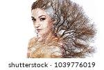 double exposure portrait of... | Shutterstock . vector #1039776019