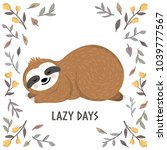 cute baby sloth sleeping among... | Shutterstock .eps vector #1039777567