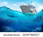 fishing boat in the sea. 3d... | Shutterstock . vector #1039780927